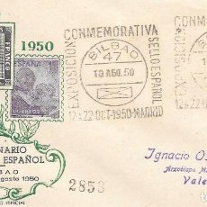 Sellos: SOBRE CONMEMORATIVO DE LA EXPOSICION DEL CENTENARIO DEL SELLO. BILBAO A VALENCIA. 1950. Lote 210474865