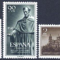 Sellos: EDIFIL 1126-1128 UNIVERSIDAD DE SALAMANCA 1953 (SERIE COMPLETA). VALOR CATÁLOGO: 26 €. MH *. Lote 210944294
