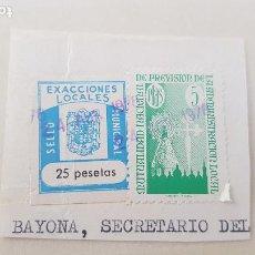 Sellos: BAYONA SELLO MUNICIPAL 25 PESETAS. Lote 211580830