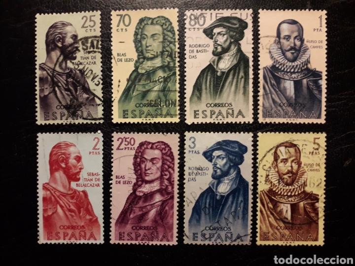 ESPAÑA EDIFIL 1374/81 SERIE COMPLETA USADA. FORJADORES DE AMÉRICA. 1961. (Sellos - España - II Centenario De 1.950 a 1.975 - Usados)
