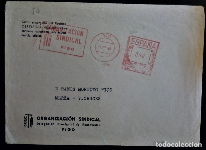 VIGO GALICIA FRANQUEO MECÁNICO ORGAJIZACIÓN SINDICAL 1968 (Sellos - España - II Centenario De 1.950 a 1.975 - Cartas)