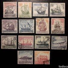 Sellos: ESPAÑA EDIFIL 1599/612 SERIE COMPLETA USADA. HOMENAJE A LA MARINA. BARCOS 1964.. Lote 214442105
