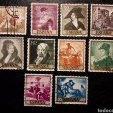 Sellos: ESPAÑA EDIFIL 1210/9 SERIE COMPLETA USADA. PINTURAS. GOYA. VIRGEN DEL ALCÁZAR 1958.. Lote 214442293