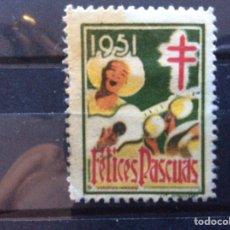 Sellos: VIÑETA ESPAÑOLA FELICES PASCUAS 1951. Lote 214714833