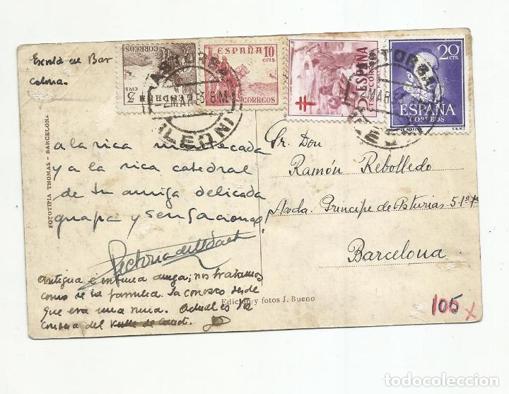 POSTAL CATEDRAL CIRCULADA 1953 DE ASTORGA LEON A BARCELONA (Sellos - España - II Centenario De 1.950 a 1.975 - Cartas)