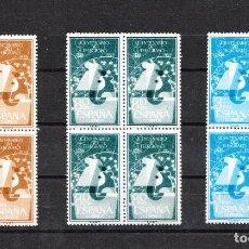 Sellos: 1955 CENTENARIO DEL TELÉGRAFO EDIFIL 1180/82 EN BLOQUES DE 4 CON GOMA Y SIN FIJASELLOS. Lote 216707856