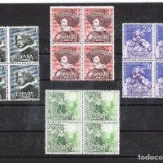 Sellos: 1961 III CENTENARIO DE VELÁZQUEZ EN BLOQUES DE 4 SIN FIJASELLOS Y CON GOMA. Lote 216816696