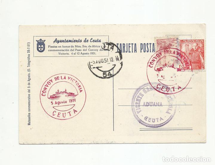 POSTAL NUESTRA SEÑORA DE AFRICA CIRCULADA 1951 DE CEUTA A CEUTA (Sellos - España - II Centenario De 1.950 a 1.975 - Cartas)