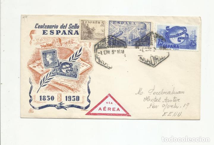 CIRCULADA 1950 DE GALVEZ MADRID A HOTEL ASTOR NEW IORK USA (Sellos - España - II Centenario De 1.950 a 1.975 - Cartas)