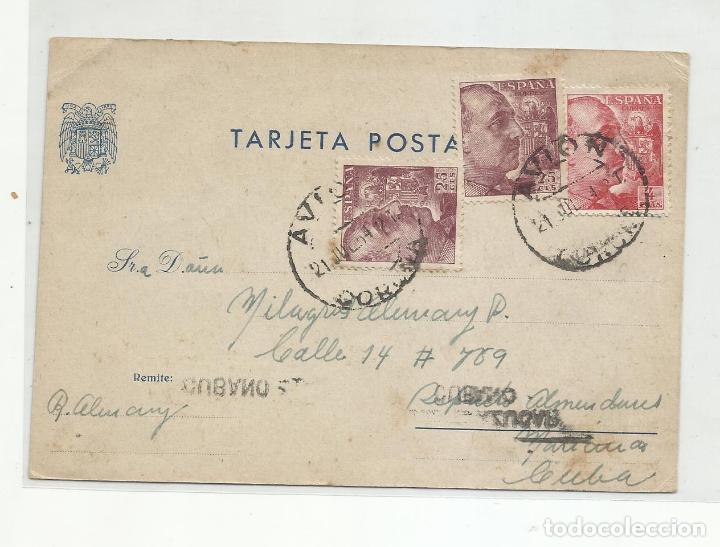 TARJETA CIRCULADA 1954 DE LA CORUÑA A LA HABANA CUBA (Sellos - España - II Centenario De 1.950 a 1.975 - Cartas)