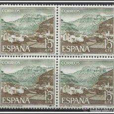 Sellos: ESPAÑA NUEVOS AÑO 1966 BLOQUE DE 4 PAISAJES Y MONUMENTOS (TORLA HUESCA) EDIFIL 1727. Lote 217893795