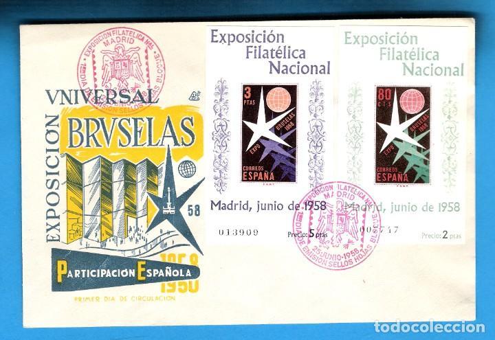 1958. EXPOSICION FILATELICA NACIONAL. SH 1222-3 EN SOBRE PRIMER DIA. (Sellos - España - II Centenario De 1.950 a 1.975 - Cartas)