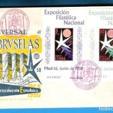 Sellos: 1958. EXPOSICION FILATELICA NACIONAL. SH 1222-3 EN SOBRE PRIMER DIA.. Lote 218065740