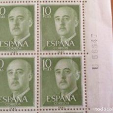 Sellos: ESPAÑA 1955 16 SELLOS DE UN PLIEGO FRANCO 10 PTAS EDIFIL 1163. Lote 218100060