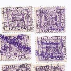 Sellos: 7 SELLOS TELEGRAFOS ESCUDO ESPAÑA 1 PTA.1949. EDIFIL 90. Lote 218502496