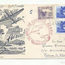 Sellos: CIRCULADA 1949 DE MAHON BALEARES A PALMA DE MALLORCA. Lote 218608271