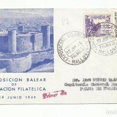 Sellos: CIRCULADA 1949 DE EXPO FILATELICA DE PALMA BALEARES A PALMA DE MALLORCA. Lote 218608428