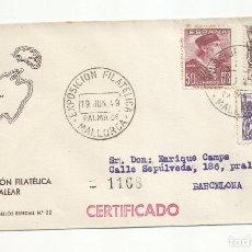 Sellos: CIRCULADA 1949 DE EXPO FILATELICA PALMA DE MALLORCA BALEARES A BARCELONA. Lote 218609045