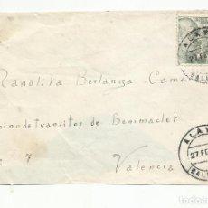 Sellos: CIRCULADA 1945 DE ALAYOR BALEARES A BENIMACLET VALENCIA. Lote 218609960