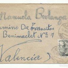 Sellos: CIRCULADA 1943 DE MAHON BALEARES A BENIMACLET VALENCIA. Lote 218610125