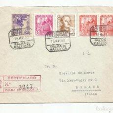 Sellos: CIRCULADA 1950 DE PALMA DE MALLORCA BALEARES A MILANO ITALIA. Lote 218610480