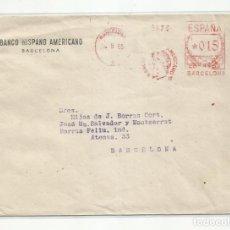 Sellos: FRANQUEO MECANICO 1955 BANCO HISPANO AMERICANO BARCELONA. Lote 218613642