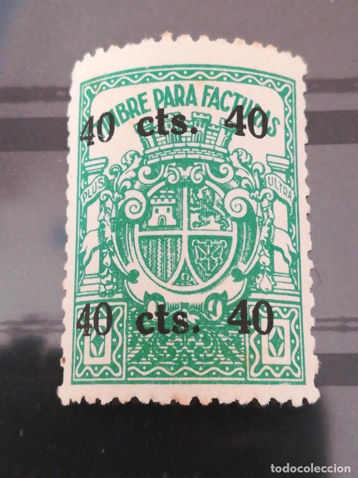 SELLOS ESPAÑA PARA FACTURAS 40 CTS, CON GOMA (Sellos - España - II Centenario De 1.950 a 1.975 - Nuevos)