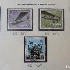 Timbres: ESPAÑA 1961 - ANIVERSARIO AVIACIÓN ESPAÑOLA - EDIFIL 1401/1405 MNH**. Lote 220948852
