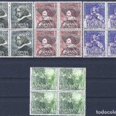 Sellos: EDIFIL 1340-1343 III CENTENARIO DE LA MUERTE DE VELÁZQUEZ 1961 (S. COMPLETA B/4). V.C. 84 €. MNH **. Lote 220978481