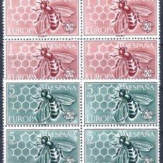 Sellos: EDIFIL 1448-1449 EUROPA-CEPT 1962 (SERIE COMPLETA EN BLOQUES DE 4). MNH **. Lote 220995372