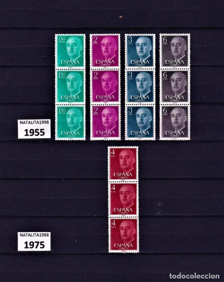 SELLOS ESPAÑA 1955 Y 1975 TRIPTICOS DE FRANCO MNH NUEVOS GOMA ORIGINAL (Sellos - España - II Centenario De 1.950 a 1.975 - Nuevos)