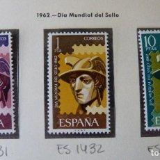 Timbres: ESPAÑA,1962, DÍA MUNDIAL DEL SELLO, MERCURIO, EDIFIL 1431-1433 MNH. Lote 221776777
