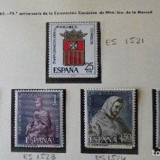 Timbres: ESPAÑA 1963 .EDIFIL 1521-1525 - ANIVERSARIO DE LA CORONACIÓN DE NUESTRA SEÑORA DE LA MERCED. MNH. Lote 221790266