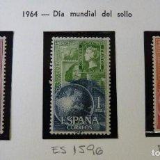 Sellos: ESPAÑA 1964 - DIA MUNDIAL DEL SELLO - EDIFIL 1595-1597 *MNH*. Lote 221792855