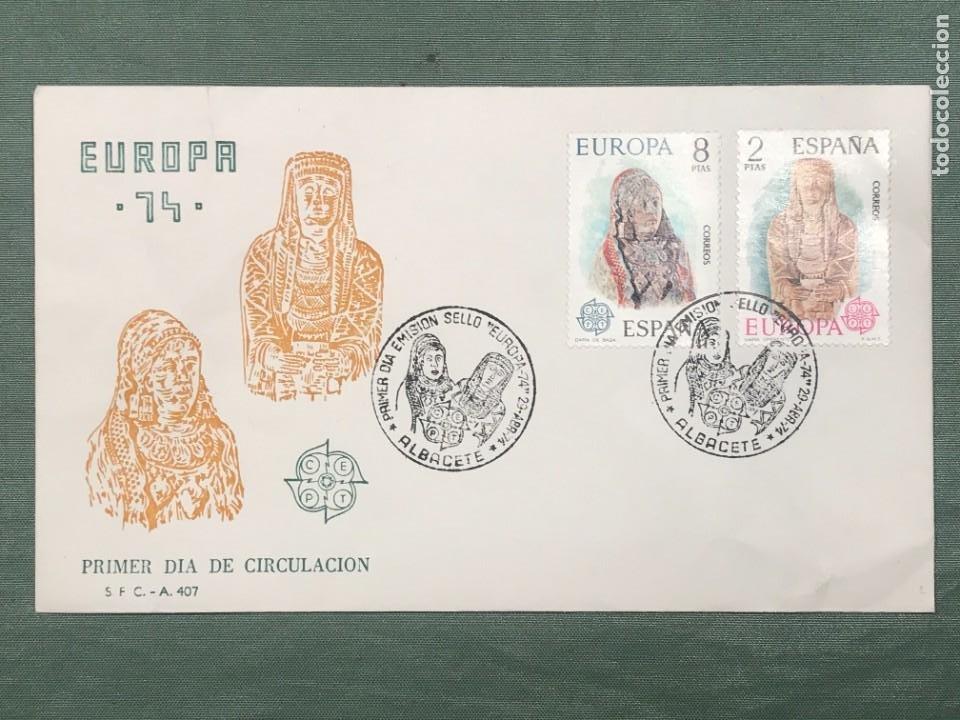 SOBRE CON MATASELLO ESPECIAL DE PRIMER DIA DE CIRCULACIÓN -EMISIÓN SELLO EUROPA 1974 (Sellos - España - II Centenario De 1.950 a 1.975 - Cartas)