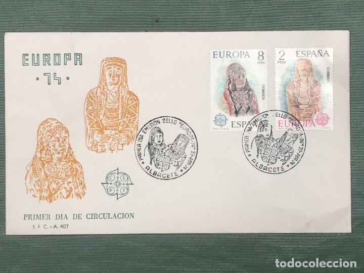 Sellos: SOBRE CON MATASELLO ESPECIAL DE PRIMER DIA DE CIRCULACIÓN -EMISIÓN SELLO EUROPA 1974 - Foto 2 - 221831685
