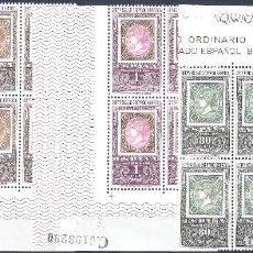 Sellos: EDIFIL 1689-1691 CENTENARIO DEL PRIMER SELLO DENTADO (SERIE COMPLETA EN BLOQUES DE 4). MNH **. Lote 222106010