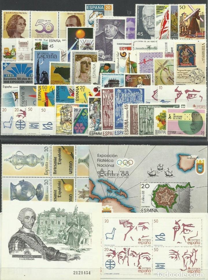 SELLOS ESPAÑA 1988 AÑO COMPLETO MNH NUEVOS GOMA ORIGINAL (Sellos - España - II Centenario De 1.950 a 1.975 - Nuevos)
