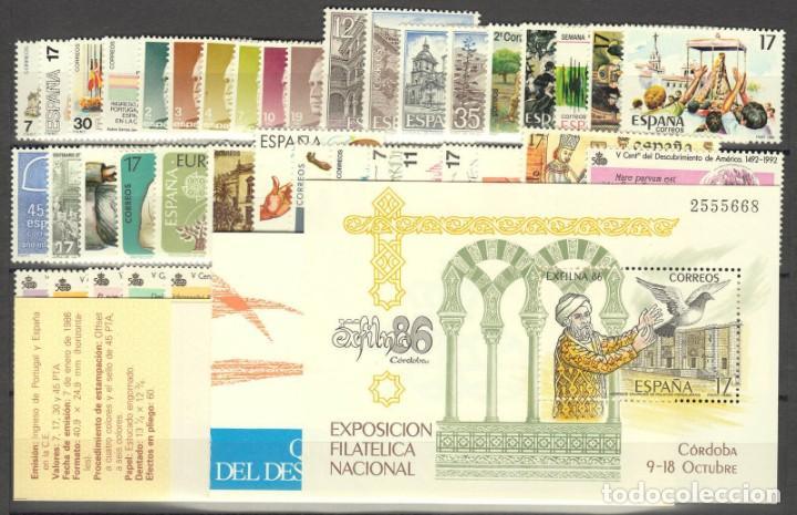 SELLOS ESPAÑA 1986 AÑO COMPLETO MNH NUEVOS GOMA ORIGINAL (Sellos - España - II Centenario De 1.950 a 1.975 - Nuevos)