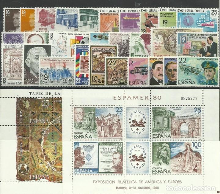 SELLOS ESPAÑA 1980 AÑO COMPLETO MNH NUEVOS GOMA ORIGINAL (Sellos - España - II Centenario De 1.950 a 1.975 - Nuevos)