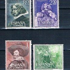 Sellos: ESPAÑA 1961 III CENTENARIO DE LA MUERTE DE VELAZQUEZ EDIFIL 1340/1343 MNH**. Lote 222840775