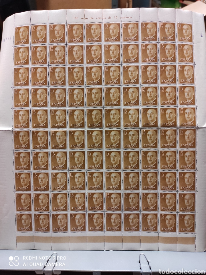 EDIFIL 1144. FRANCISCO FRANCO. 15 CTS OCRE. PLIEGO DE 100 SELLOS (Sellos - España - II Centenario De 1.950 a 1.975 - Nuevos)