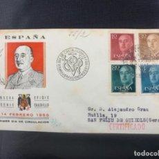 Sellos: 1955 SOBRE Y MATASELLOS PRIMER DIA CIRCULACION EFIGIE CAUDILLO FRANCISCO FRANCO. Lote 225951375