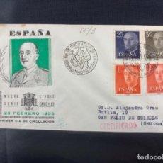 Sellos: 1955 SOBRE Y MATASELLOS PRIMER DIA CIRCULACION EFIGIE CAUDILLO FRANCISCO FRANCO. Lote 225951925