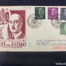 Sellos: 1955 SOBRE Y MATASELLOS PRIMER DIA CIRCULACION EFIGIE JEFE DEL ESTADO FRANCISCO FRANCO. Lote 225952120