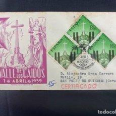 Sellos: 1955 SOBRE Y MATASELLOS PRIMER DIA CIRCULACION VALLE DE LOS CAIDOS FRANCISCO FRANCO. Lote 225952261