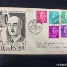 Sellos: 1955 SOBRE Y MATASELLOS PRIMER DIA CIRCULACION NUEVA SERIE EFIGIE FRANCISCO FRANCO. Lote 225952486