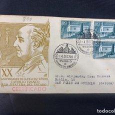 Sellos: 1956 SOBRE Y MATASELLOS PRIMER DIA CIRCULACION XXº ANIVERSARIO EXALTACION DE FRANCISCO FRANCO. Lote 225953141