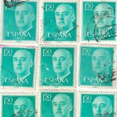 Sellos: 1155 EDIFIL BASICA GENERAL FRANCO 1,50 LOTE 11 SELLOS USADOS. Lote 227904210