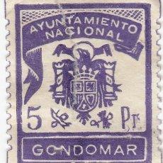 Sellos: PONTEVEDRA AYUNTAMIENTO DE GONDOMAR SELLO MUNICIPAL LOCAL 5 PT. TIMBRE FISCAL. Lote 229416700